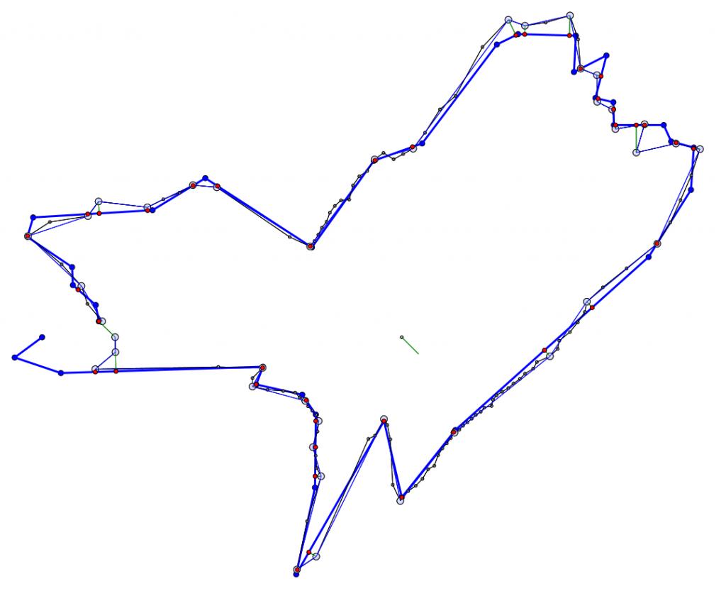 Результат работа алгоритма локализации