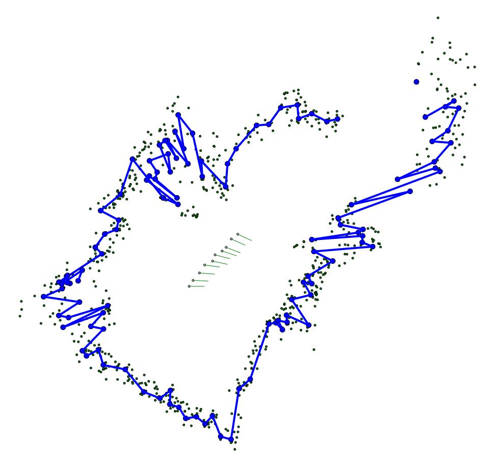 Карта построенная роботом на  10 шаге.